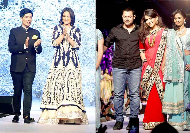 Aamir-Sonakshi at Manish Malhotra-Shaina NC fashion show for CPAA