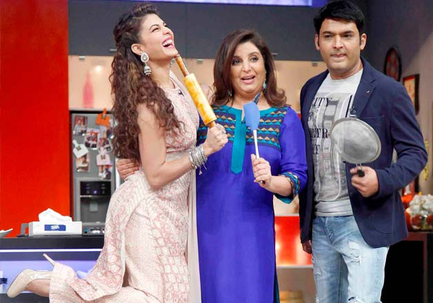 Jacqueline Fernandez and Kapil Sharma at Farah Ki Dawat