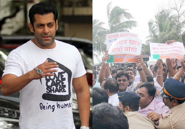 Protest outside Salman Khan house