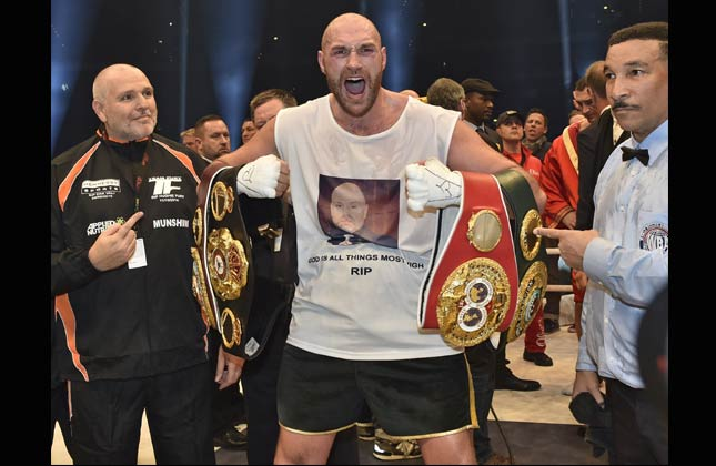 .Tyson Fury beats Wladimir Klitschko to become world heavyweight champion