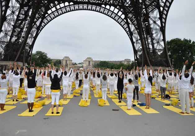 Yoga day celebrated at Eiffel tower in Paris